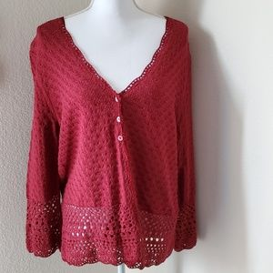 Emma James Crocheted 3 Button Cardigan Sweater